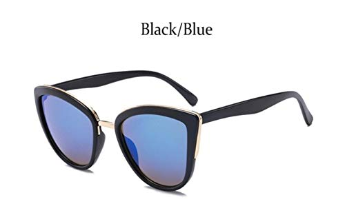 XCVB Damesmode kat spiegel zonnebril dames designer oog kat metalen frame meisjes zonnebril bruin, zwart blauw