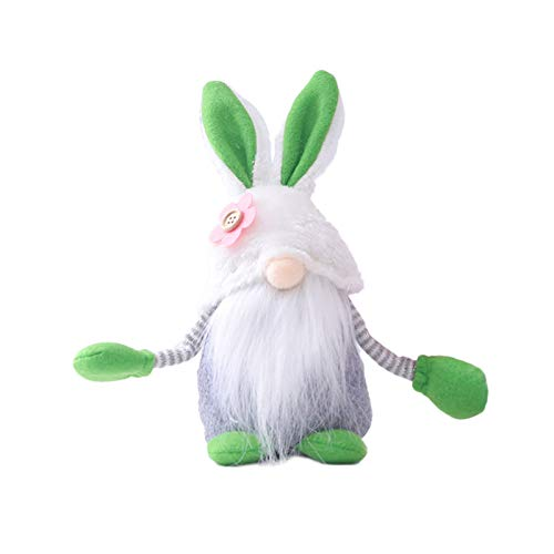 fuchsiaan Cute Faceless Plush Gnome Dwarf Doll, Simulation Bunny Supplies Rabbit Hug Egg Household Stuffed Doll Ornaments for Easter Christmas Home Decor, Kids Gift Green