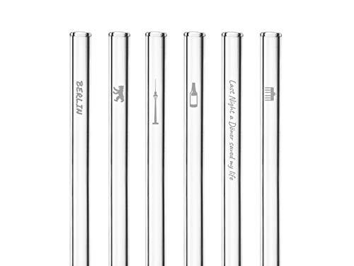 HALM Glas-Strohhalme - Berlin Edition mit Gravur - 6 Stück gerade 20 cm - Berlin Souvenirs - Geschenkartikel - Wiederverwendbare Glas-Trinkhalme - inkl. plastikfreie Reinigungsbürste - Glasstrohalme