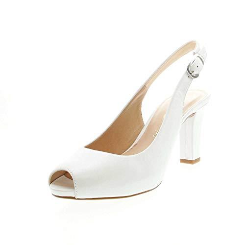 Unisa - Sandalias de vestir de Piel Lisa para mujer, color Blanco,...