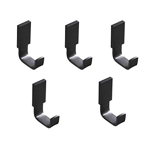 Flybath Coat Hook Brass Robe Towel Hooks Contemporary Style Matte Black Finish Wall Mounted - 5 Pack