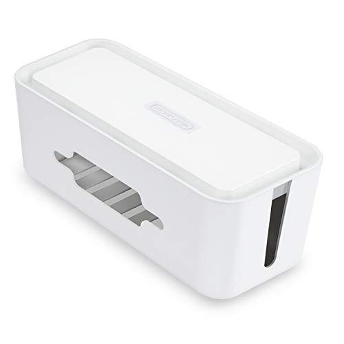 Caja Organizador Escritorio - NTONPOWER Caja Organizadora de Cables para Regleta Enchufes, 310×138×130 mm, Caja Recoge Cables, Caja Cables de Carga de Plástico ABS con Ventilación, Blanco