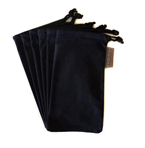 6 PC Eyewear Eyeglass Microfiber Soft Cleaning Cloth Bag Pouch Case BLACK