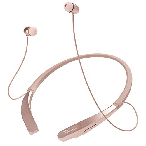 Bluetooth Headphones Neckband Lightweight Wireless Headset Call Vibrate Alert Sport Earbuds w/Mic Earphones 10 Hour Playtime for Running Compatible with iPhone Samsung Android (Rose Gold)