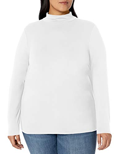 Amazon Essentials Plus Size Long-Sleeve Mockneck fashion-t-shirts, Blanco, 4X