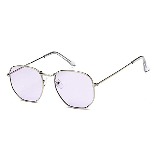 YTYASO Gafas de Sol de Moda para Mujer, Gafas de Sol con Espejo para Conducir, Gafas de Sol para Hombre, Metal Hexagonal