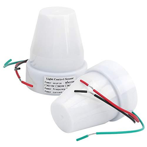 2 juegos de interruptor de control de luz interruptor de 10 A interruptor de sensor de control de luz ajustable para ferrocarriles para luces de calle