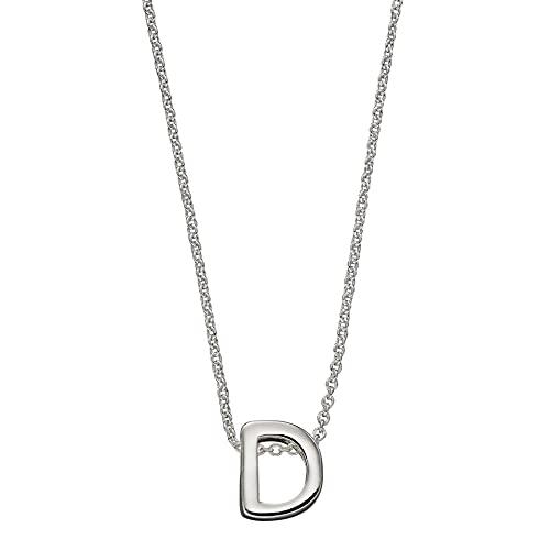 Beginnings - Collar de plata de ley 925 para mujer, adolescente, niña, hombre, niño, con letra D, letra D, 41 cm + 5 cm