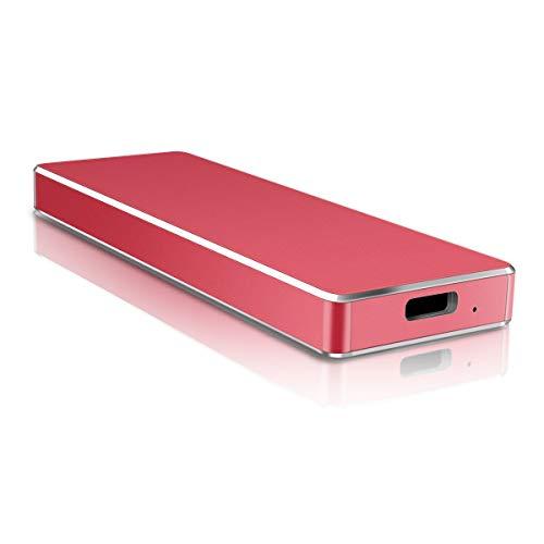 Disco duro externo USB 3.1 tipo C para Mac/PC/MacBook/Xbox One/Xbox 360/Chromebook (2 TB, rojo)