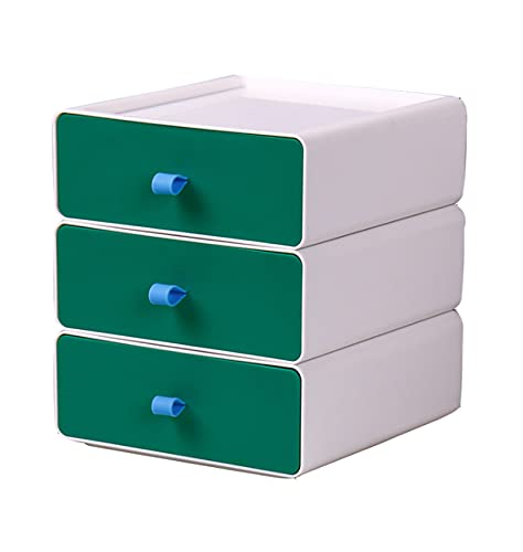 YTEU Caja de Almacenamiento de Escritorio cajón de Almacenamiento apilable Caja de Organizador Blanco y Verde pequeña Caja de diseño 20cm * 21cm * 7,5cm*3