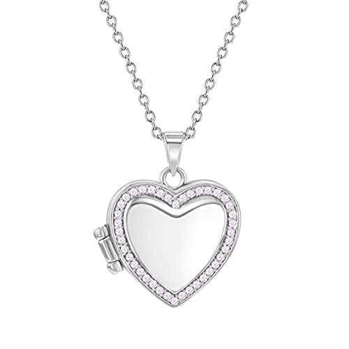 """925 Sterling Silver Pink Cubic Zirconia Heart Photo Locket Girls Necklace 16"""""""
