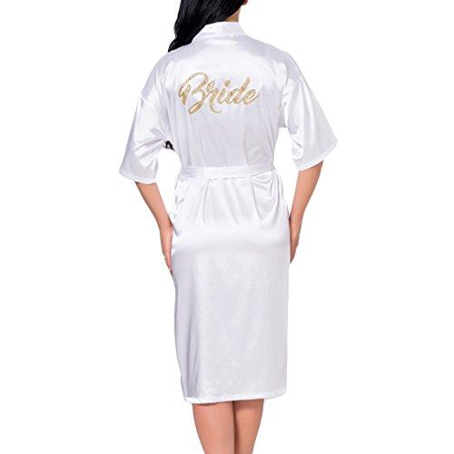 WEIMEITE Frauen Kimono Roben für Brautjungfer und Braut Hochzeit Immer bereit Lange Robe Trauzeugin Roben weiße Braut