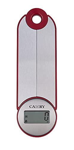 CAMRY Balance de cuisine numérique Pliable Balance de cuisine électronique pour les voyages de camping, balance portable, 5KG/11lb, grand écran LCD, lbs: oz/g fl'oz/ml (argent-rouge)