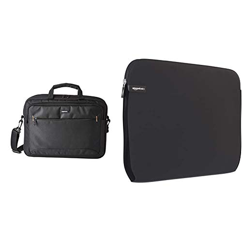 Amazon Basics 15.6-Inch(40 cm) Laptop Computer and Tablet Shoulder Bag Carrying Case, Black, 1-Pack & Laptop Sleeve for 15-Inch to 15.6-Inch Laptop/MacBook Pro/MacBook Pro with Retina Display