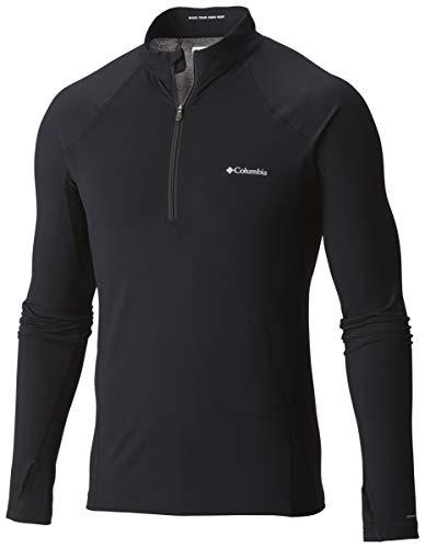 Columbia Midweight Stretch Long Sleeve Half Zip Camiseta térmica de Manga Larga, Hombre, Black, L