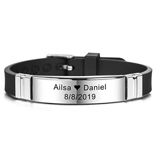 MeMeDIY Personalized Bracelet Engraving Names Silicone Sport Wrist Identification ID Tag Bracelet Customized for Men Women Kids Stainless Steel Rubber Adjustable - (13mm Wide, Black Color)