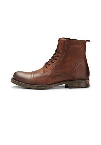 JACK & JONES Herren Jfwrussel Leather 19 Biker Boots, Braun (Cognac), 43 EU
