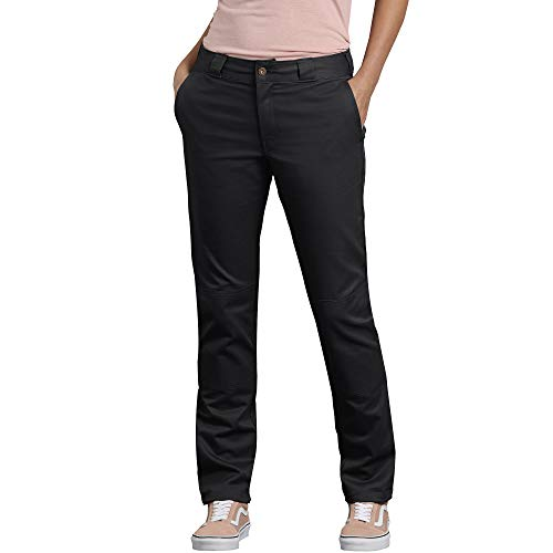 Dickies Women's Double Knee Work Pant with Stretch Twill, Black, 10