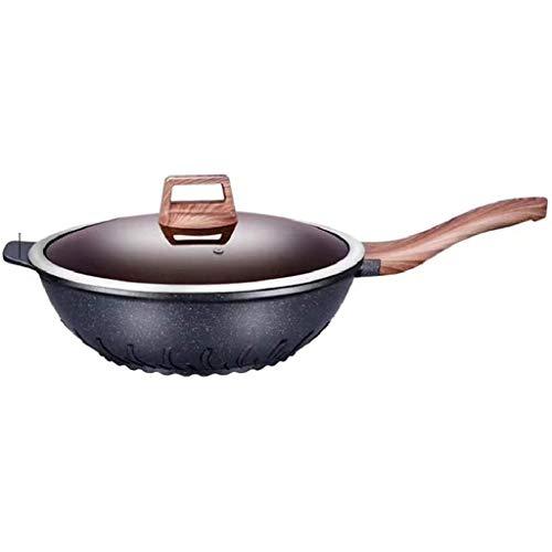 YWSZJ Acero Inoxidable Wok, multipropósito Salsa Pan, Antiadherente del pote de Humo No Gas Estufa de Inducción Wok con Tapa