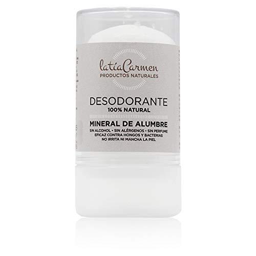 La Tía Carmen - Desodorante Mineral de Alumbre - 120 Gramos - Compuesto por Minerales - Hipoalergénico y Libre de Fragancia - Productos Naturales - Desodorante en Barra - Cuidado de la Piel