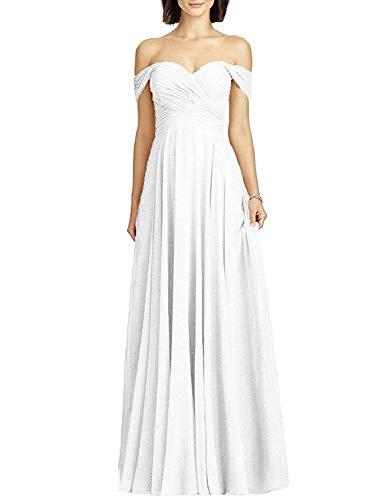 White Chiffon Column Wedding Dress Off the Shoulder