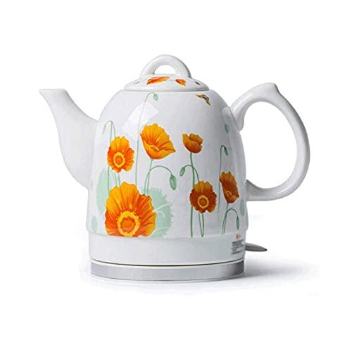 Tetera de porcelana azul y blanca de cerámica eléctrica Tetera de la tetera de porcelana azul y negro 1.5L Jarbos de jarra de agua Rápido para té Café Sopa Avena mei