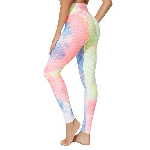 Ropa de Gimnasio para Mujer Leggings con Efecto Tie Dye Deporte Mujer Fitness Pantalones de Yoga elásticos de Cintura Alta Lanbaicheng 3XL