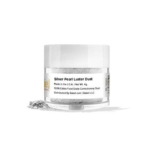 BAKELL Silver Pearl Edible Luster Dust & Paint, 4 Gram | LUSTER DUST Edible Powder | KOSHER Certified Paint, Powder & Dust | 100% Edible & Food Grade| Cakes, Cupcakes, Vegan Dust (Silver Pearl)