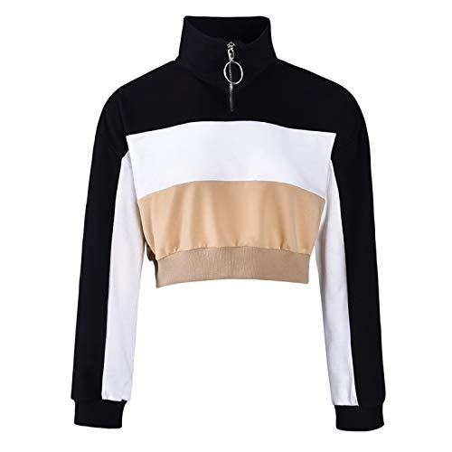 Jubaton Otoño/Invierno Blusa de Mujer Moda Anillo Cremallera Cuello Alto Contraste Costura Sexy suéter Corto pulóver XXL