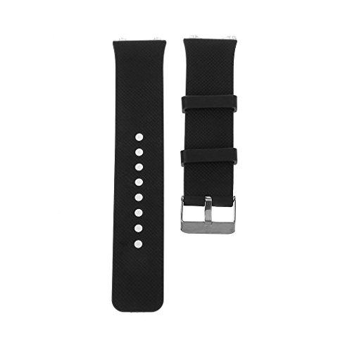 Jiamins Silikon Ersatzarmband Bügel Metallschnallen für intelligente Uhr DZ09 (Schwarz)