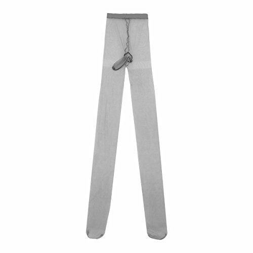 iiniim Herren Männer Strumpfhose Pantyhose mit Penishülle Hosen Tight Unterwäsche Mehrfarbig Grau Einheitsgröße