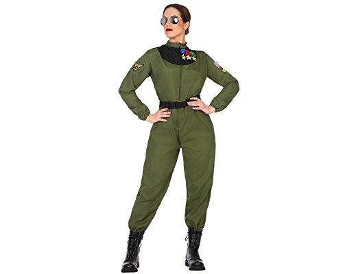 Atosa-50878 Disfraz mujer militar piloto, color verde, XS-S (50878) , color/modelo surtido
