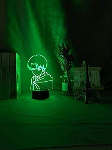 KANGNING 3D Illusion Lamp Led Night Light Captain Levi Ackerman Figure for Kids Child Bedroom Decor Colorful Table Lamp Attack On Titan Gift Well