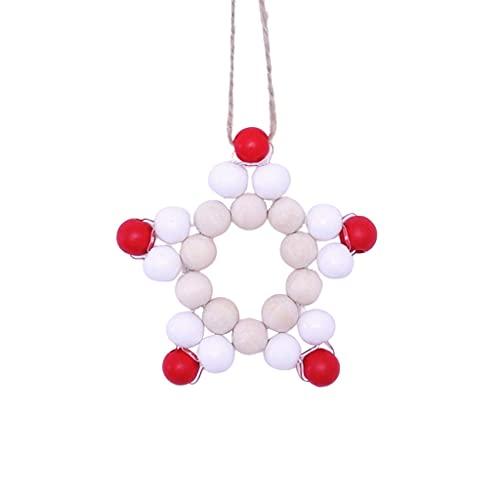 Bingxue - Ghirlanda di perline in legno a cinque punte a forma di stella, decorazione natalizia per la casa, campane a vento, 1 (vedi foto)