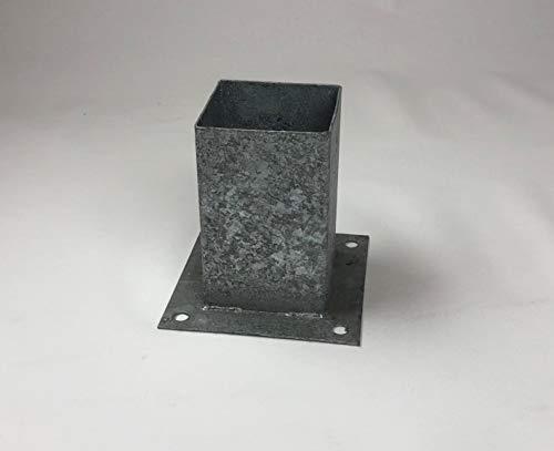 Aufschraubhülse Pfostenträger H Anker Balkenschuh Bodenanker 91x91x150mm verzinkt (10 Stück Aufschraubhülse (Spar-Set))