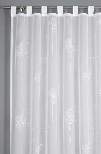 GARDINIA Vorhang mit angenähten Schlaufen, Transparenter Schlaufenschal, Voile-Flock, Weiß, 140 x 245 cm