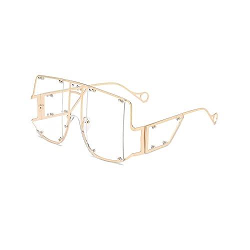 HHZ Las Gafas de Sol rectangulares polarizadas de Las señoras, Gafas de Sol de Marco Grande de Metal, Gafas de Sol clásicas Anti-UV, Clear