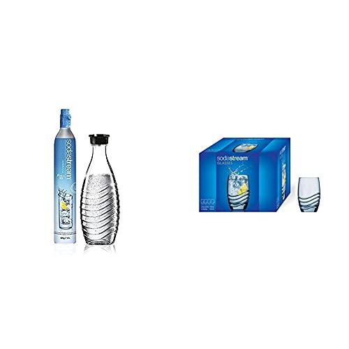 SodaStream Reservepack mit 1x CO2-Zylinder und 1x 0,6 L Glaskaraffe & Designglas, individuell designtes Rastal-Trinkglas, 4er-Pack