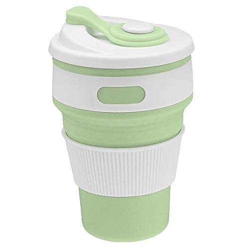 Preuve de fuite pliable de voyage de tasse réutilisable de tasse de café de silicone de 350ML (Color : Mustard green)