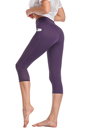 High Waisted Yoga Pants Capri Workout Leggings for Women with Pockets Tummy Control Non-See-Through Mesh Running Compression Capris for Exercise Fitness Gym Athletic Purple-L