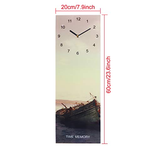 U HOME Large Frameless Wall Clock Decor, Silent Non-Ticking, 24' x 8' Rectangle Art Wall Clock Decorative for Home Bedroom Living Room Office Gift, Battery Operated