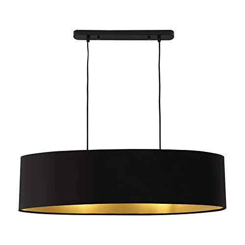 lux.pro] Lampada a Sospensione Altezza 132 cm Paralume 78 x 23 x 20,5 cm Lampadario Lampada da Soffitto Plafoniera Metallo Tessuto Nero