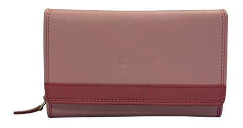 Damen Geldbörse groß viele Fächer Leder 18x10cm Damengeldbörse Portemonnaie Geldbeutel Ledergeldbörse Franko Geldtasche Reißverschluss 381 (Rosa/Pink)