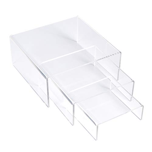 SimbaLux Acrylic Display Risers Clear Stand Set of 3 Medium Low Profile Tiered for Showcasing Food, Cupcake, Dessert, Candy, Jewelry, Figurines, Photos, Retail & Home Decoration, Durable & Steady