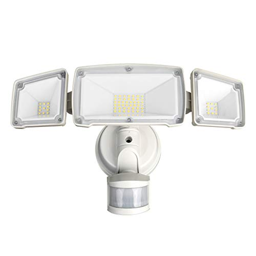 Lepro LED Security Lights Outdoor, Dusk to Dawn & Motion Sensor Light, 32W 3200LM, IP65 Waterproof, 3 Head Flood Lights for Porch Yard Garage, Not Solar Powered (White)