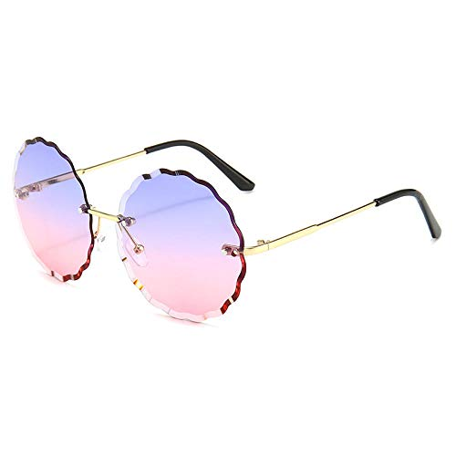 hqpaper Gafas de sol poligonales con borde sin montura, gafas de sol para mujer, gafas de tendencia de metal, morado y rosa