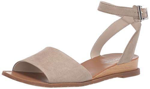 Kenneth Cole REACTION Women's Jolly Low Wedge Sandal with Ankle Strap Flat, Taupe, 7 M US