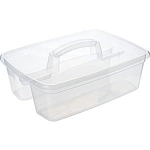 QILZO® Cesta para Productos de Limpieza Cesta Transparente Organizador de Plástico 2 Compartimientos 39,5x29x16cm Cesta con Asa para almacenamiento Multiusos Limpieza, Material Escolar, Almacenamiento