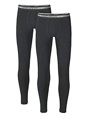 DAVID ARCHY Men's Winter Warm Stretchy Cotton Fleece Lined Base Layer Pants Thermal Bottoms Long Johns with Fly 2 Pack (M, Heather Dark Gray)
