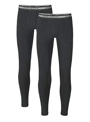 DAVID ARCHY Men's 2 Pack Winter Warm Stretchy Cotton Fleece Lined Base Layer Pants Thermal Bottoms Long Johns with Fly (M, Heather Dark Gray)